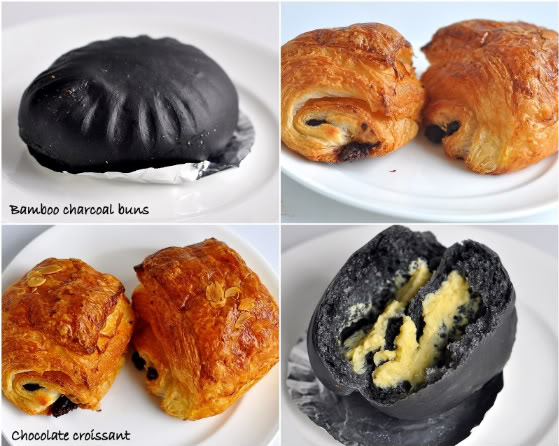 Charcoal Buns Filled With Custard